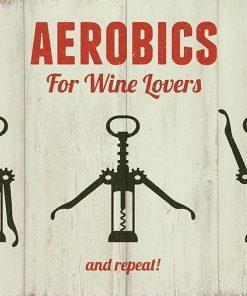 sjovt metal skilt aerobics for wine lovers